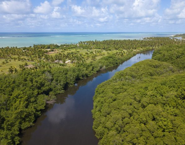 foto aérea do rio tatuamunha e do mar de porto de pedras