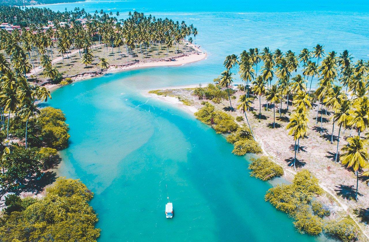 Rio cercado por coqueiros em encontro com mar