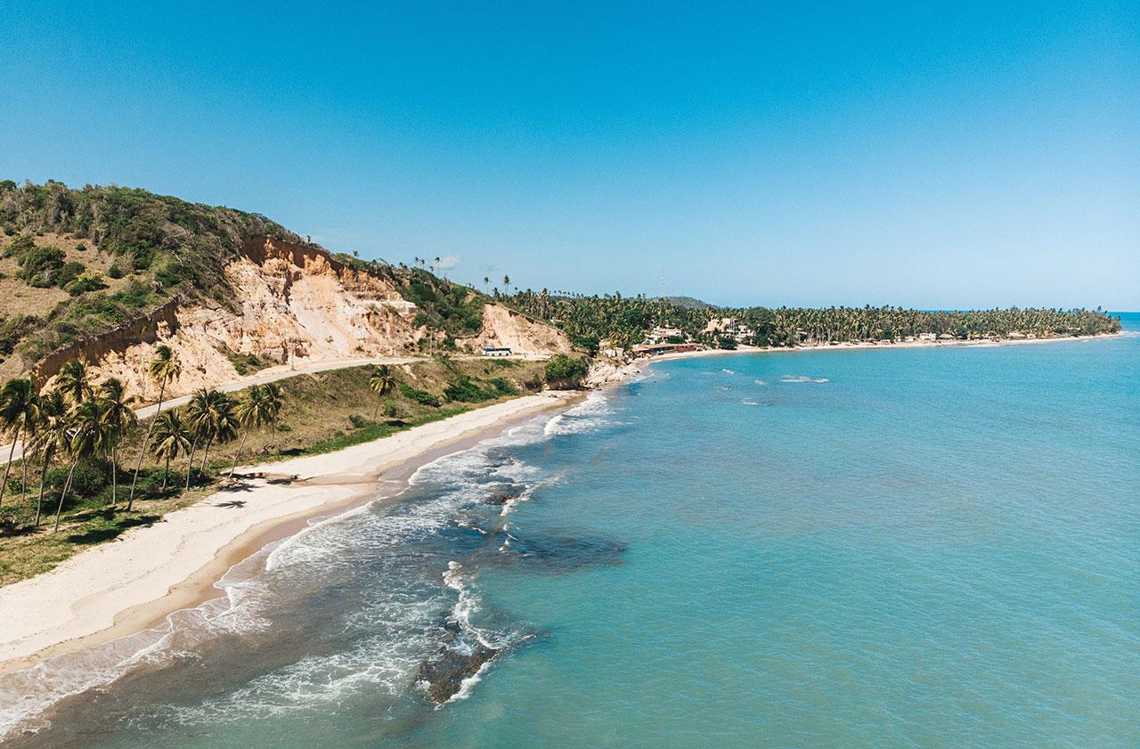 Falésias na praia de Barreiras de Boqueirão